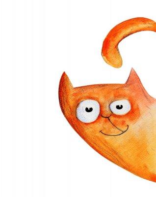 Väggdekor Cat från hörnet. Vattenfärg