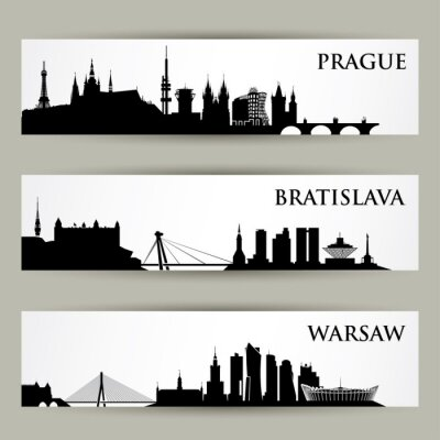 Väggdekor Centraleuropa städer horisonter