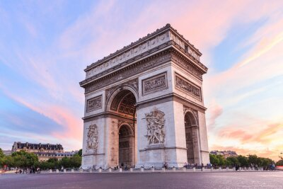 Väggdekor Champs-Elysees i solnedgången i Paris