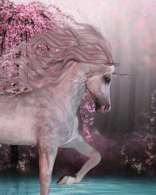Väggdekor Cherry Blossom Unicorn - The Unicorn häst är en mytisk varelse med ett horn i sin panna och klövar och bor i den magiska skogen.