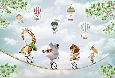 Väggdekor children's picture, animals on a wheel ride on a tightrope against the sky with balloons