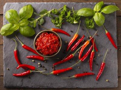 Väggdekor chilisås
