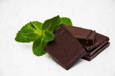 Väggdekor Chokladbitar med ett blad av mynta