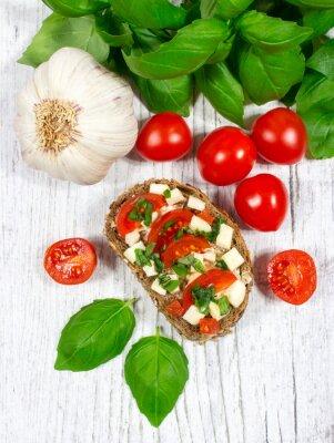 Väggdekor Ciabatta bröd med tomat, mozzarella och basilika.