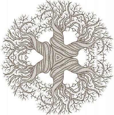 Väggdekor Cirkulär prydnad från abstrakta träd med curling fat.