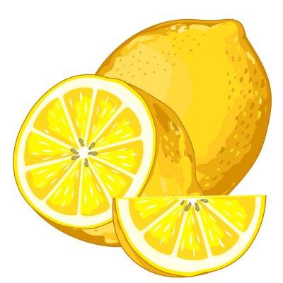 Väggdekor Citron Isolerad på vit bakgrund.