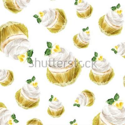 Väggdekor Citronmuffin med krämmynta, akvarellillustration muffins efterrätt. konsttryck, modeskiss. bageri söt tårta frukt citrus.pattern