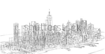 Väggdekor city, panorama, 3d illustration