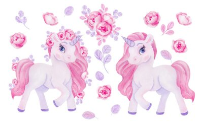 Väggdekor Clipart with watercolor hand draw unicorn and flowers