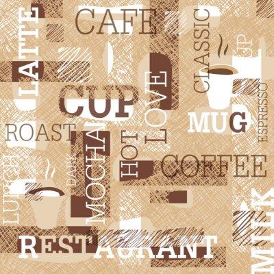 Väggdekor Coffee teman Seamless. Ord, koppar kaffe och kreativa klotter. Beige och brunt omfång. Abstrakt bakgrund för café eller restaurang varumärke design.
