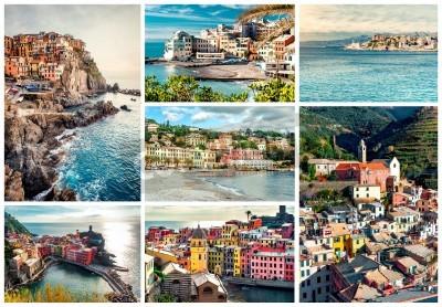 Väggdekor Collage av mest kända landmärken i Italien. Italienska Rivieran-Genoa, Manarola, Vernazza, Bogliasco, Santa Margherita.