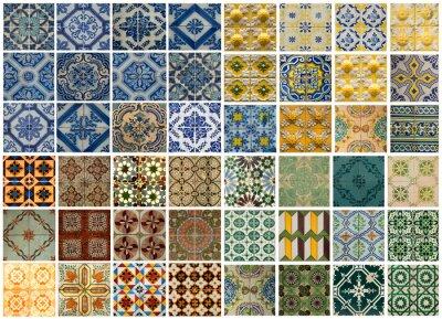 Väggdekor Collage av olikfärgade mönsterrutor i Portugal