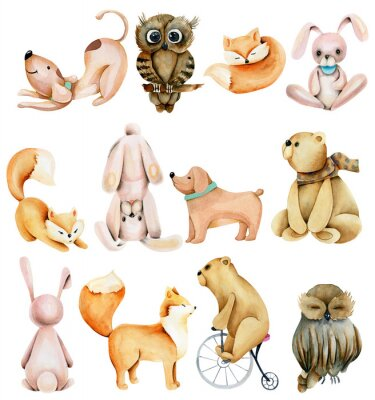Väggdekor Collection of watercolor cute animals (rabbits, foxes, owls, bears and dogs), hand drawn isolated on a white background