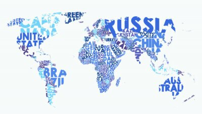 Väggdekor Color political map of the world consisting of country names, text composition detailed vector illustration
