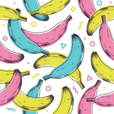 Väggdekor Colored fun banana seamless pattern. 90s style background. Vector illustration