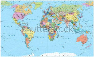 Väggdekor Colored World Map - borders, countries, roads and cities. Detailed World Map vector illustration.