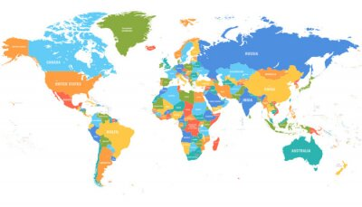 Väggdekor Colored world map. Political maps, colourful world countries and country names. Geography politics map, world land atlas or planet cartography vector illustration