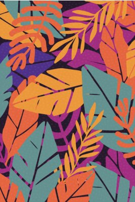 Väggdekor Colorful leaves seamless pattern background vector illustration. Exotic plants, branches and leaves art print for beauty, fashion and natural products, spa and wellness, wedding and events poster