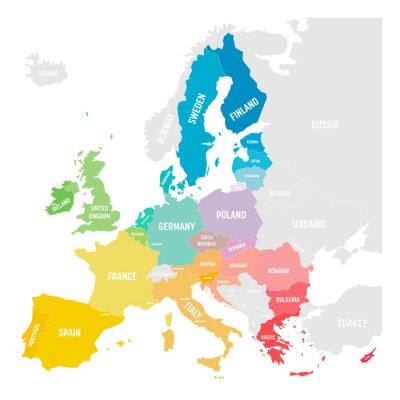 Väggdekor Colorful vector map of EU, European Union, member states