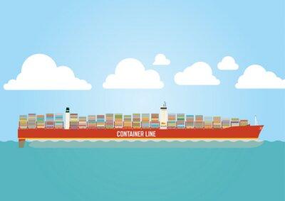Väggdekor Containerfartyg lastade med last
