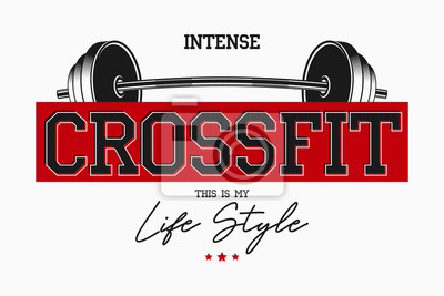 Väggdekor Crossfit athletic typography for t-shirts. Sportswear slogan, t shirt graphic design for GYM theme. Vector illustration.