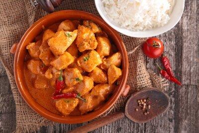 Väggdekor curry kyckling med sås och ris