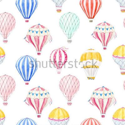 Väggdekor Cute balloon watercolor pattern.  aerostat