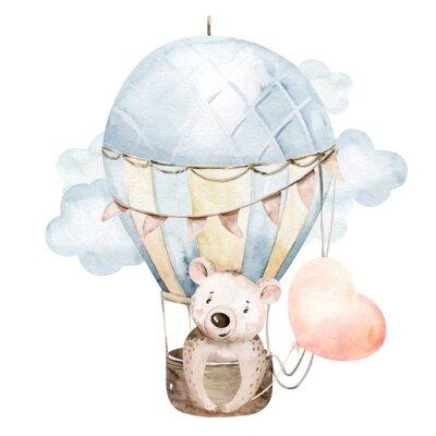 Väggdekor Cute cartoon baby bear animal hand drawn watercolor bunny illustration with air balloon. kids nursery wear fashion design, baby shower invitation card.