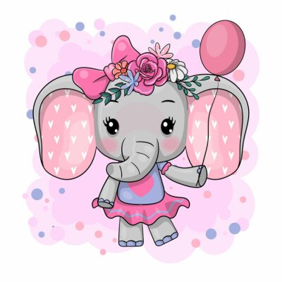 Väggdekor Cute Cartoon Elephant with flowers on a white background