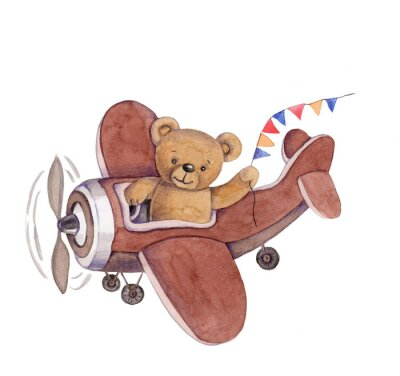 Väggdekor Cute cartoon toy animal teddy bear in plane, watercolor illustration, hand draw, isolated on white.