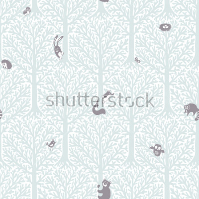 Väggdekor Cute forest with animals and birds. Great decor and wallpaper for baby, kids and nursery room in Scandinavian style. Vector seamless pattern. Cute Nordic background with forest animals in the woods