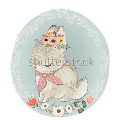 Väggdekor Cute Hare with Floral Wreath