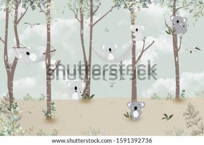 Väggdekor Cute koalas playing in the jungle