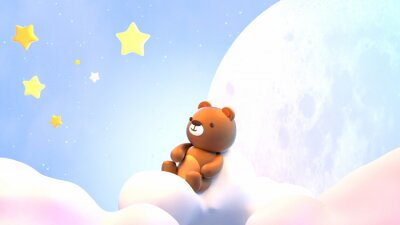 Väggdekor Cute little bear sitting on soft pastel clouds and watching beautiful night sky with stars in front of the white full moon. 3d rendering picture.
