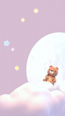 Väggdekor Cute little bear watching beautiful night sky with stars in front of the white full moon. 3d rendering picture. (Vertical)