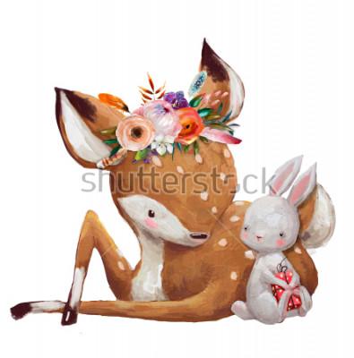 Väggdekor cute little hare with little deer