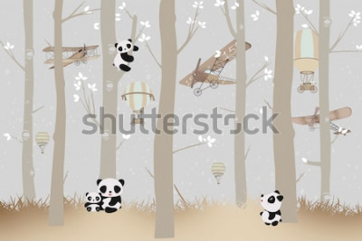 Väggdekor cute pandas playing in the forest wallpaper