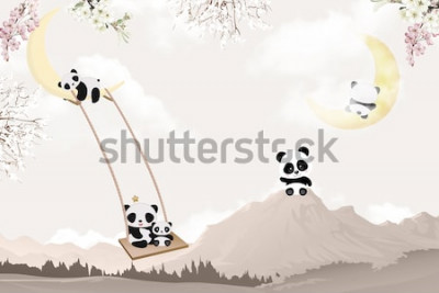 Väggdekor cute pandas playing kids room wallpaper design