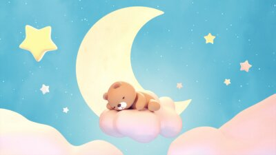 Väggdekor Cute sleeping bear on lake green color background. Beautiful pastel pink clouds, yellow crescent moon, and stars. 3d rendering picture.
