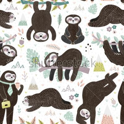 Väggdekor Cute sleeping sloths seamless pattern. Adorable animal background. Vector illustration