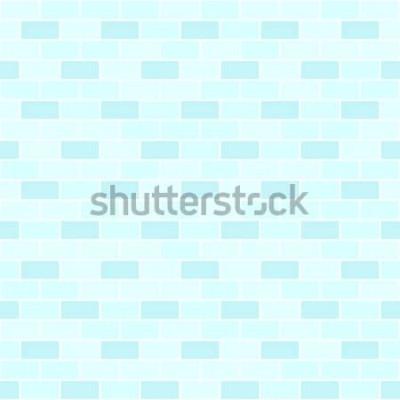 Väggdekor Cyan tegelvägg mönster. Sömlös vektor tegel bakgrund