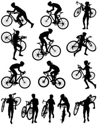 Väggdekor Cyclocross racing vektor silhuett
