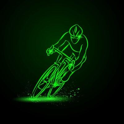 Väggdekor Cykellopp. Frontvy. Vektor neon illustration.