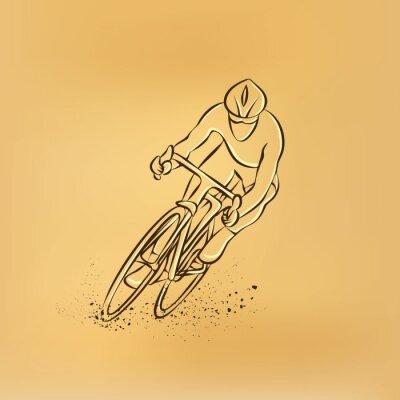 Väggdekor Cykellopp. Frontvy. Vektor retro teckning illustration.