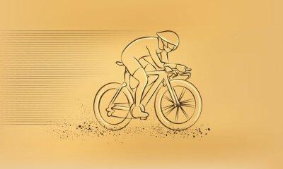 Väggdekor Cykellopp. Vektor retro teckning illustration.