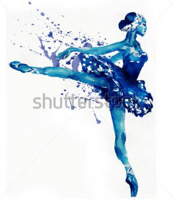 Väggdekor Dancing Ballerina i blått. Vattenfärg illustration