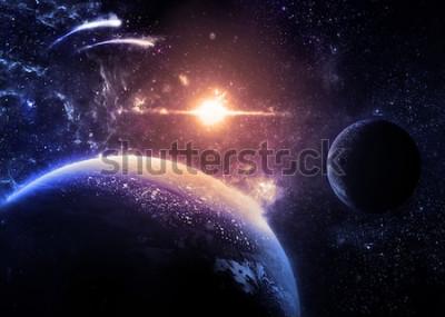 Väggdekor Dark Planet and Moon Over a glowing Star - Delar av denna bild från NASA