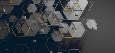 Väggdekor Datos en la nube y red.Concepto de ciencia y tecnología.Malla y formas geométricas