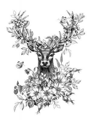 Väggdekor Deer with Flowers, Berries and Butterflies Pencil Drawing
