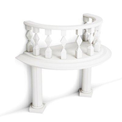 Väggdekor Dekorativa balkong med kolumner isolerad på vit bakgrund. 3D-rendering.